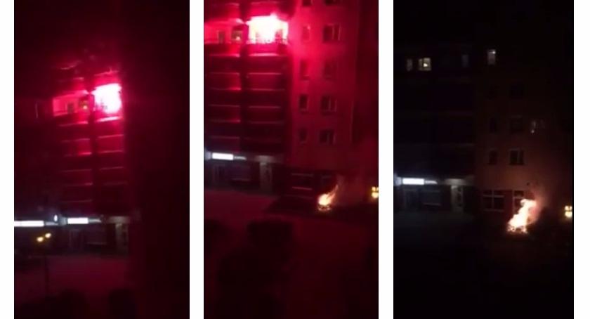 Rzucił racą z balkonu i spowodował pożar na Gocławiu [FILM]